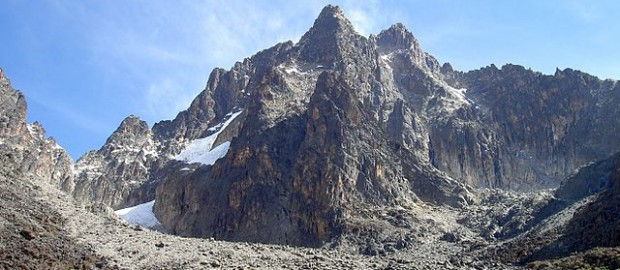 This Wikipedia and Wikimedia Commons image is from the user Chris 73 and is freely available at //commons.wikimedia.org/wiki/File:Batian_Nelion_and_pt_Slade_in_the_foreground_Mt_Kenya.JPG under the creative commons cc-by-sa 3.0 license.